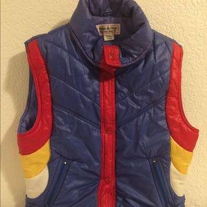 Vintage Puffer Vest 80's rainbow Medium